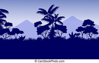 Beauty landscape mountain with jungle silhouettes