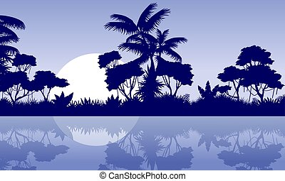 jungle scenery with river silhouette style