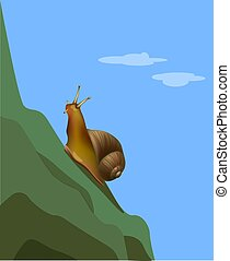 Reaching a goal snail on the mountain