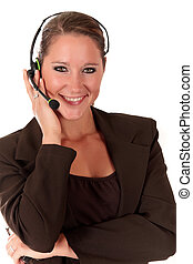 Help desk woman communicating - Attractive young smiling...