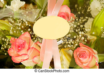Flowers and blank lable - Bouquet of flowers with a blank...