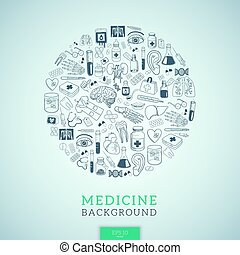 Medicine icons in round shape. - Healthcare medical...