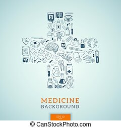 Medicine icons in cross shape. - Healthcare medical...