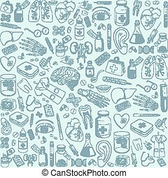 Medicine icons pattern. - Healthcare medical background....