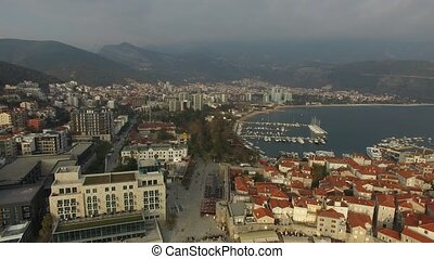 The Old Town of Budva, shooting with air drone. Montenegro -...
