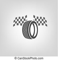 Tire Shop Logo - Car tire icon with finish flags in grey...