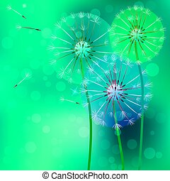 realistic dandelion with flying buds - Very high quality...
