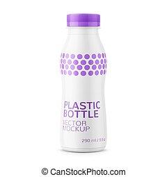 White milk bottle template. - White glossy plastic bottle...
