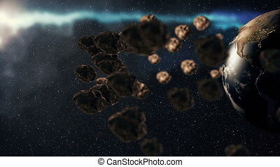 Planet Earth and asteroids spinning around its axis....