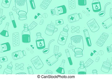Drug icons pattern. - Healthcare medical background. Vector...