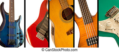 Guitars and bass guitars all in colors