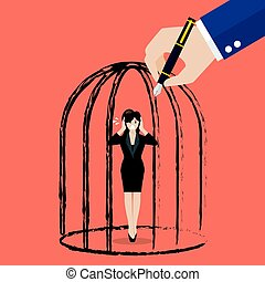 Business woman standing in a hand drawn cage