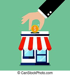 Hand collect the money in shop store. Vector flat style