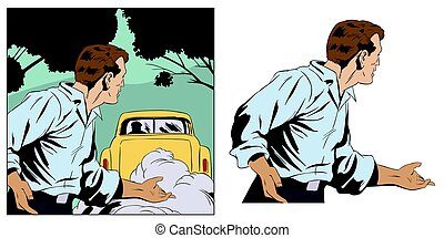 Confused man looks at car. Stock illustration. - Stock...