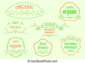 floral frames for natural products - vector