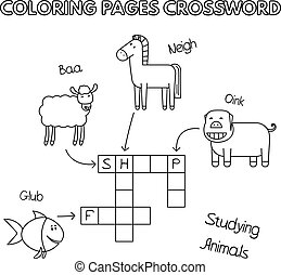 Farm Animals Coloring Book Crossword