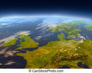 Western Europe from space - Western Europe from Earth's...