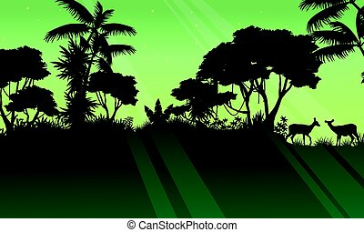 Landscape deer on the jungle silhouette
