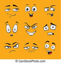 Funny cartoon faces with emotions. - Set of funny cartoon...