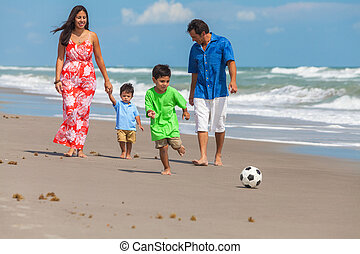 Mother Father Parents Boy Children Family Beach Football...