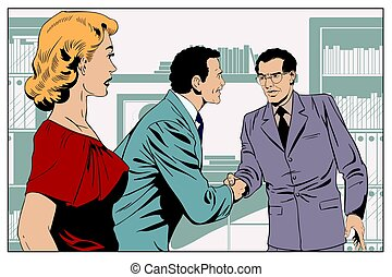 Girl looks at Two business man shaking hands. Stock...
