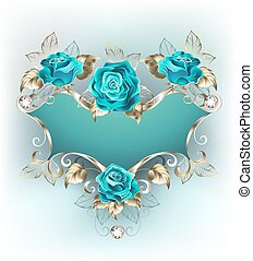 Banner with turquoise roses - Blue patterned banner with a...