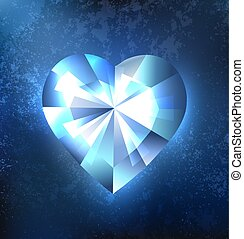 Frozen heart - Polygonal heart blue, transparent, glistening...