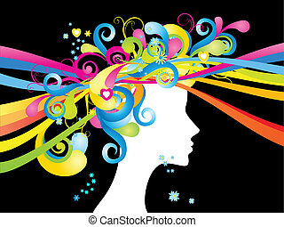 Whimsical woman - Whimsical silhouette of woman with color...