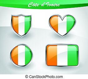 Glossy Cote d'Ivoire flag icon set with shield, heart,...