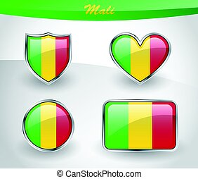 Glossy Mali flag icon set with shield, heart, circle and...