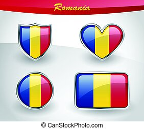 Glossy Romania flag icon set