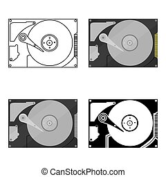 Hard disk icon in cartoon style isolated on white...
