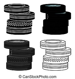 Barricade from tires icon in cartoon style isolated on white...