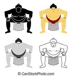 Sumo wrestler icon in cartoon style isolated on white background.