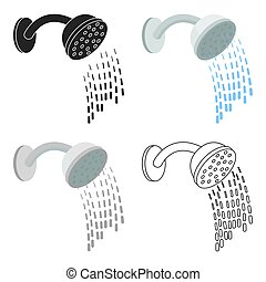 Shower icon in cartoon style isolated on white background....