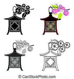 Japanese lantern icon in cartoon style isolated on white background. Japan symbol stock vector illustration.