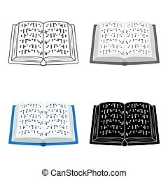 Book written in braille icon in cartoon style isolated on...