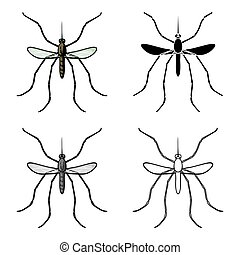 Mosquito icon in cartoon style isolated on white background. Insects symbol stock vector illustration.