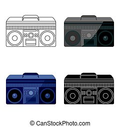 Boombox icon in cartoon style isolated on white background....