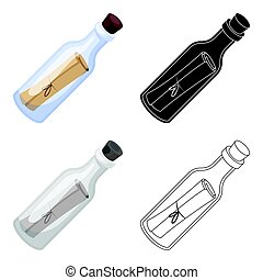 Message in the bottle icon in cartoon style isolated on...