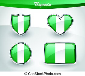Glossy Nigeria flag icon set with shield, heart, circle and...