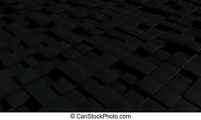 Black cubic surface in motion. Seamless loop