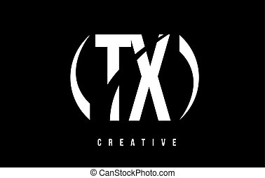 TX T X White Letter Logo Design with Black Background. - TX...