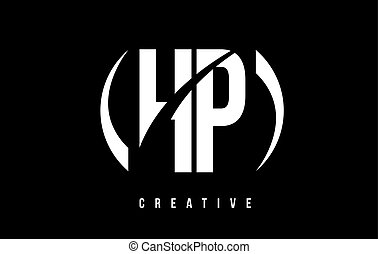 HP H P White Letter Logo Design with Black Background. - HP...