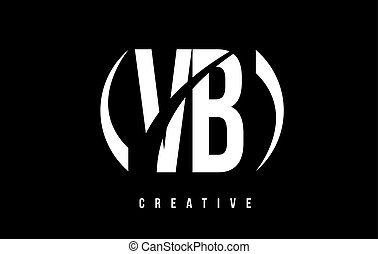 VB V B White Letter Logo Design with Black Background. - VB...