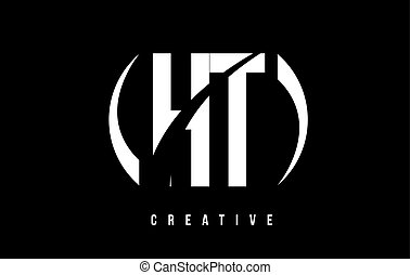 HT H T White Letter Logo Design with Black Background. - HT...