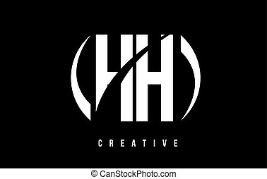 HH H H White Letter Logo Design with Black Background. - HH...
