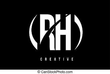 RH R H White Letter Logo Design with Black Background. - RH...