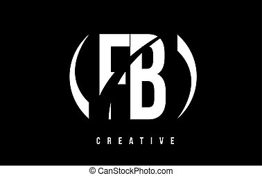 FB F B White Letter Logo Design with Black Background. - FB...