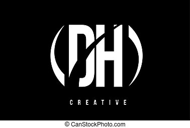 DH D H White Letter Logo Design with Black Background. - DH...